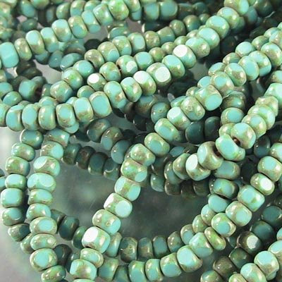 s19348 Czech Seedbeads - 6/0 Faceted - Turquoise Picasso (strand)
