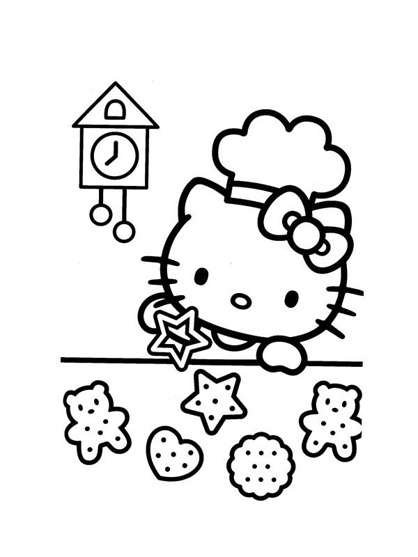 Coloriage A Imprimer Hello Kitty Cuisine Des Gateaux Gratuit Et Colorier