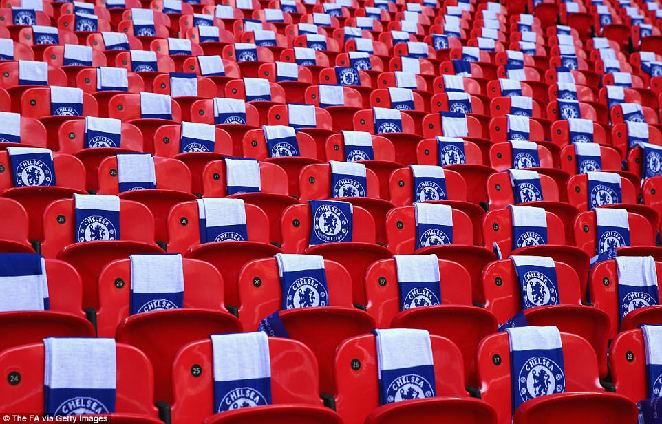 Blue and white Chelsea scarves were placed on their supporters' seats at the home of football prior to kick-off on Saturday