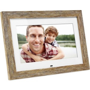 Aluratek 10 Inch Distressed Wood Digital Photo Frame With Auto