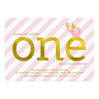 "Pink and Faux Gold Foil Elephant Birthday Party 5"" X 7"" Invitation Card"