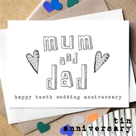 personalised mum and dad wedding anniversary card by becka