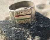Old Silver Etched African Ring with Red and Green