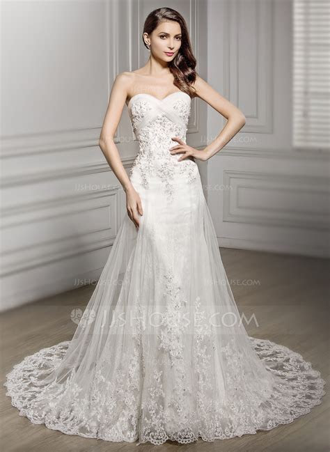 Trumpet/Mermaid Sweetheart Cathedral Train Tulle Lace
