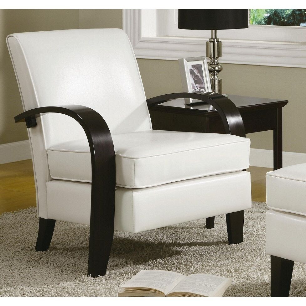 Wonda White Bonded Leather Accent Chair with Wood Arms | eBay
