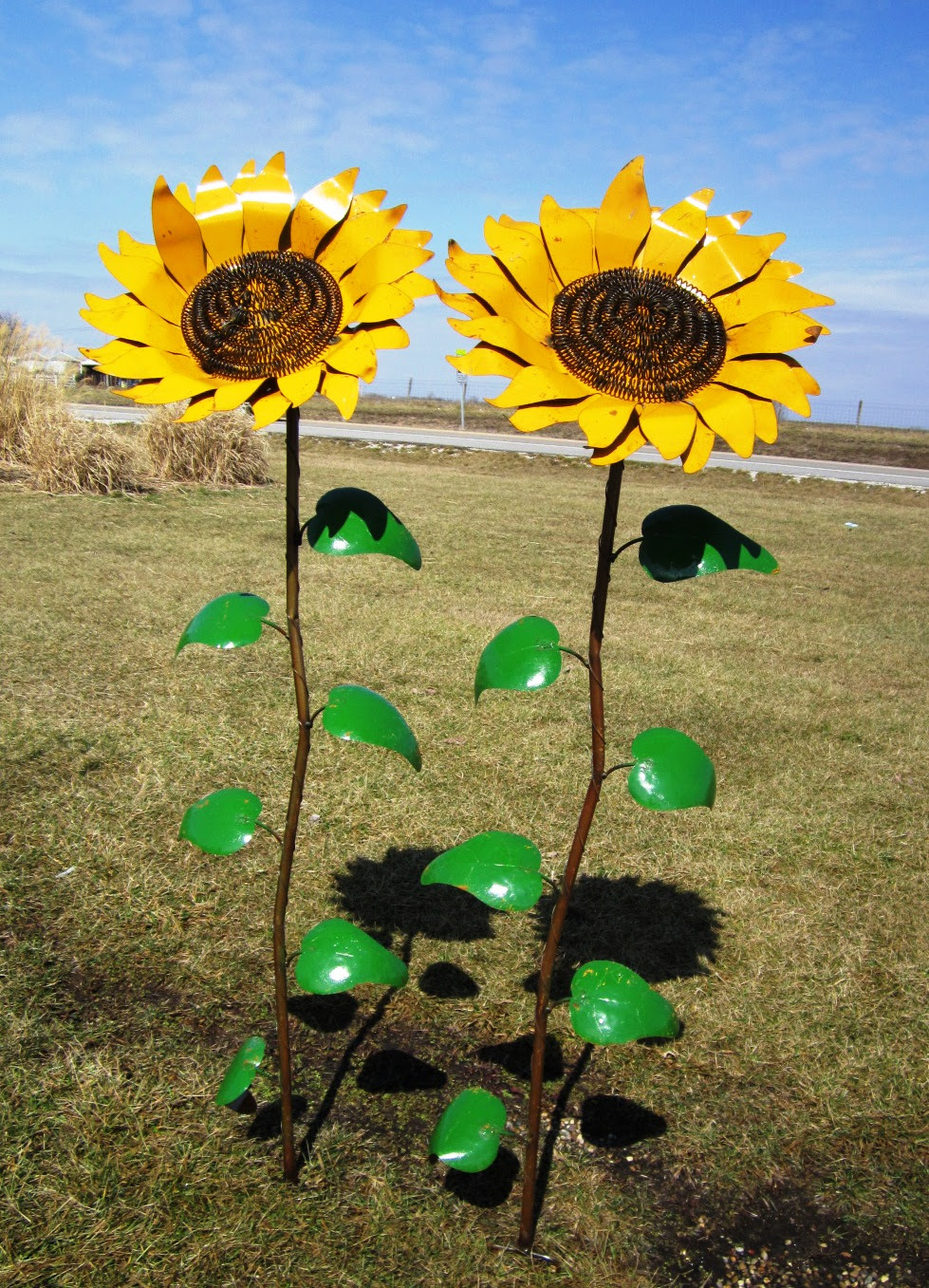 """67"""" Recycled Metal Giant Sunflower Stake - Yard Decor"""