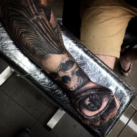 detailed natural long cathedral tattoo forearm