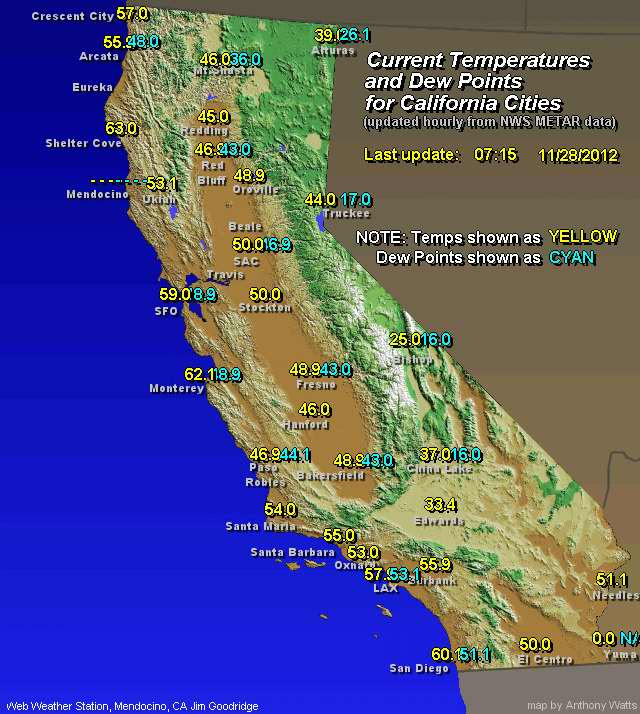 Map Of California Weather.Weather Map Of California World Map Gray