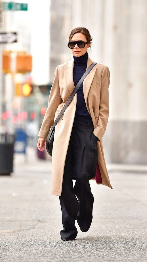 Le Fashion Blog Victoria Beckham Street Style Black Turtleneck Sunglasses Camel Long Coat Black Trousers Via Vogue
