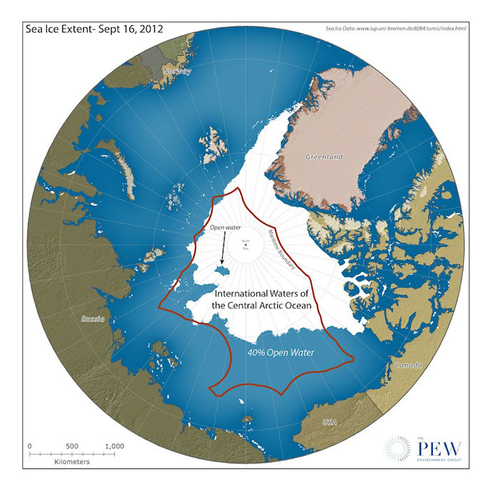 Map shows the central Arctic Ocean, the area closed to fishing under the Arctic Fisheries. Image: Pew