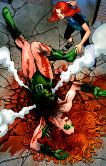 Knockout dies. Art by Nicola Scott.