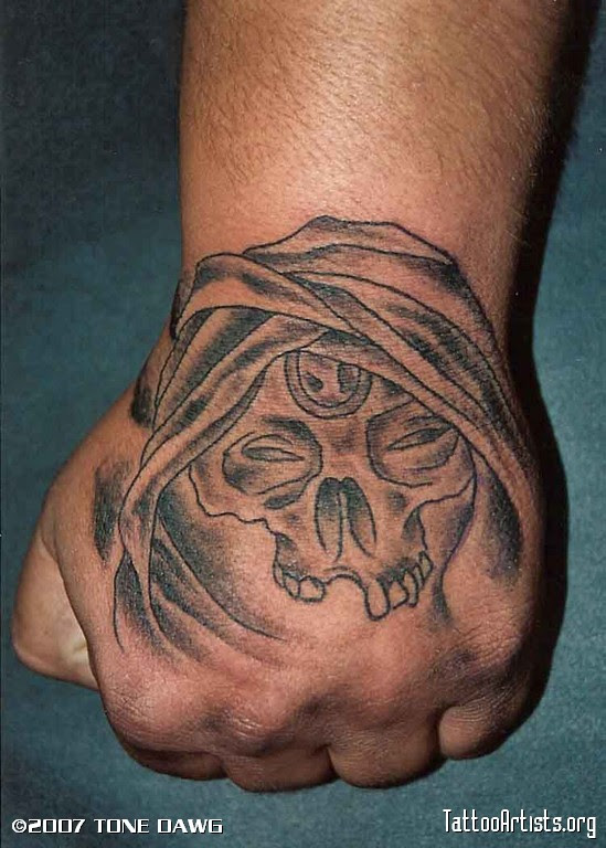Devil Skull Tattoo On Hand