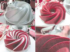 Nordic Ware's new non-stick interior cast-aluminum 1950 shape Heritage Bundt cake pan was used to create this dramatic swirling Red Velvet Cake, made from an 18.25-ounce box  of Duncan Hines' Moist Deluxe Red Velvet cake mix. For those of you who are skeptical about using a boxed cake mix, try it. You'll be amazed by the results. Purchase the Heritage Bundt cake pan, a Williams-Sonoma web exclusive, at www.williams-sonoma.com <http://www.williams-sonoma.com.