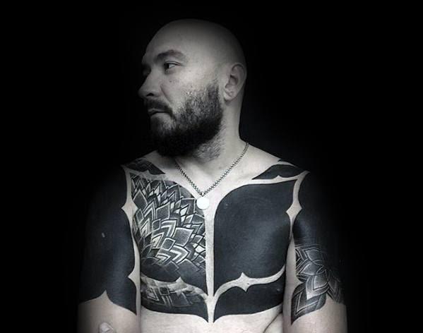 70 All Black Tattoos For Men Blackout Design Ideas