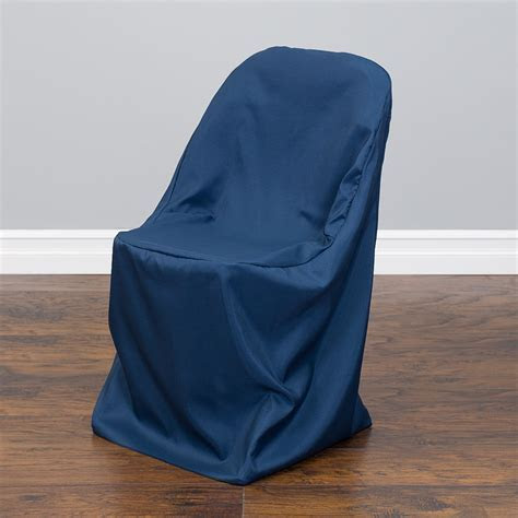 LinenTablecloth: Polyester Folding Chair Cover Navy Blue