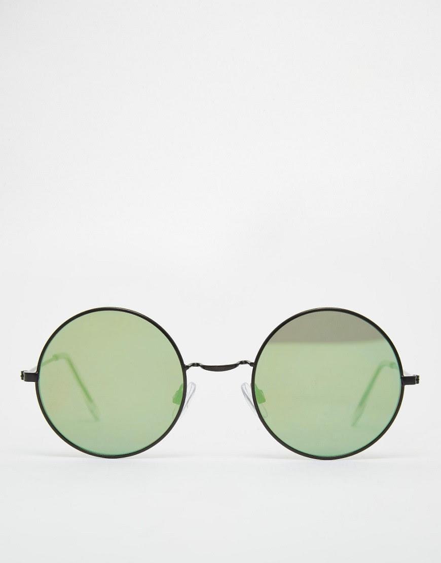Image 2 ofASOS Metal Round Sunglasses With Flat Lens