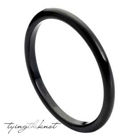Tungsten Carbide Rings 2mm Polished Black Women Wedding