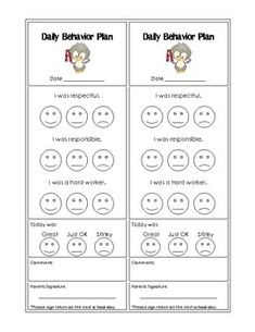 Daily Schedule Behavior Chart   Daily Planner