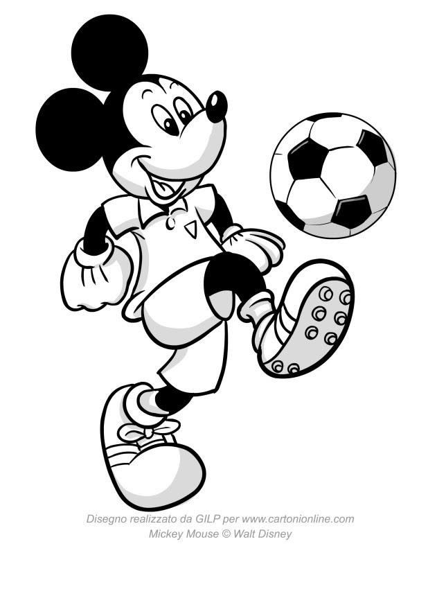 Disegno Di Topolino Che Palleggia Con Un Pallone Da Calcio Da Colorare