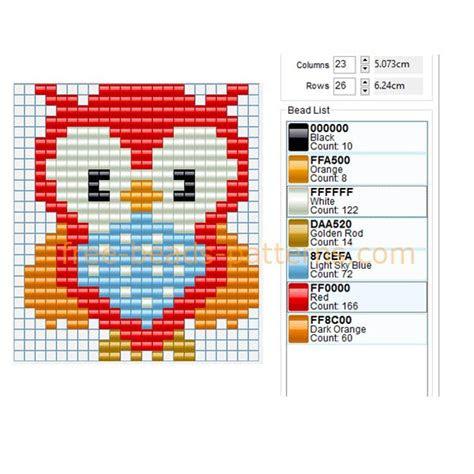 colored owl bird  perler beads pattern baby toys idea