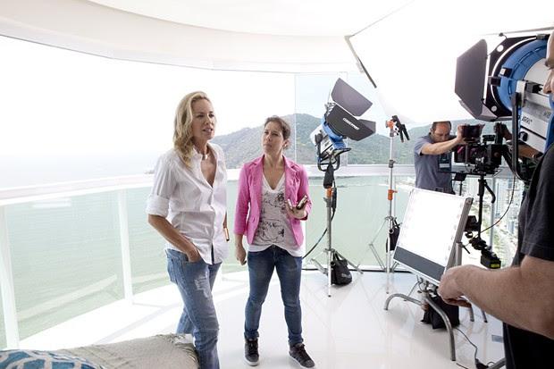 Sharon Stone grava comercial em hotel em Balneário Camboriú, Santa Catarina.  (Foto: Gilson de Rezende/ Divulgação)