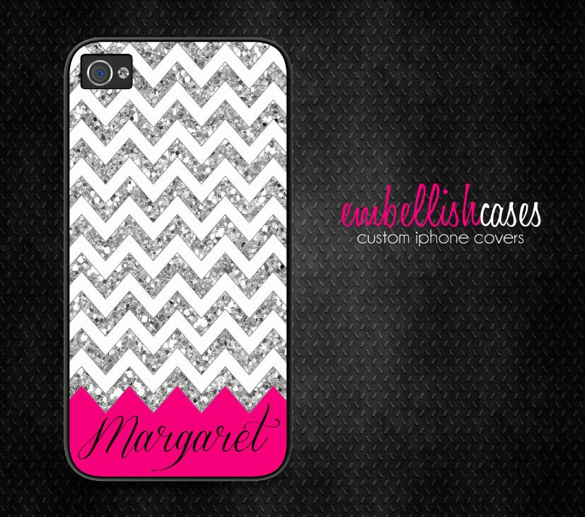 iPhone 4 Case, glitter iPhone 4 case, bling chevron iphone 4s case - lipstick pink 142 (NOT REAL GLITTER)