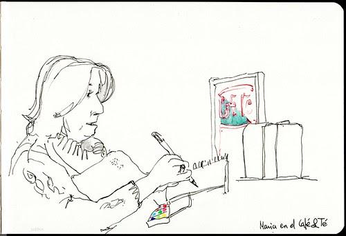 dibujando en el Café&Té