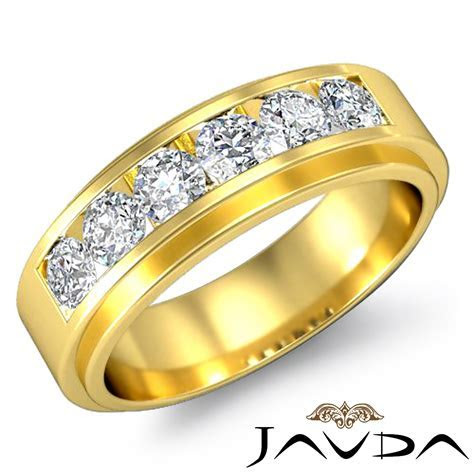 Channel Set Diamond Mens Lustrous Wedding Band 18k Yellow