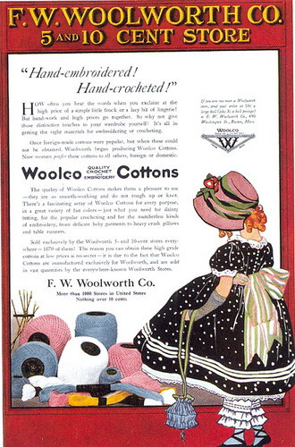 Woolco Cottons Quality Crochet and Embroidery ad, 1919