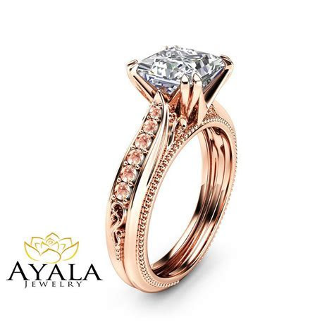 Victorian Moissanite Engagement Ring 14K Rose Gold