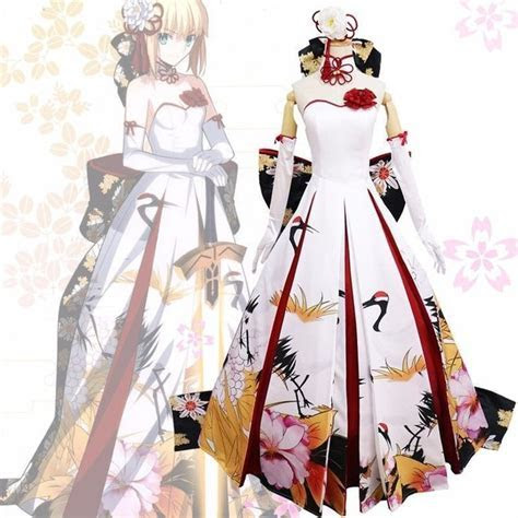 Anime Fate Stay Night FSN Saber Cosplay Costumes Red