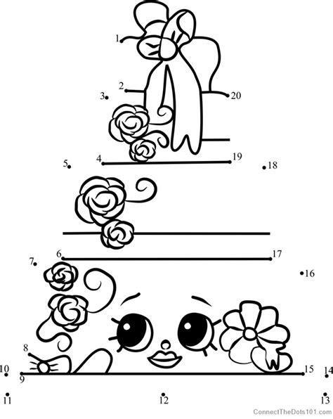 Wendy Wedding Cake Shopkins dot to dot printable worksheet