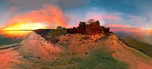 Fire Island Glows Across From Long Island's Fire Filled Sky Sunset - IMRAN™ by ImranAnwar
