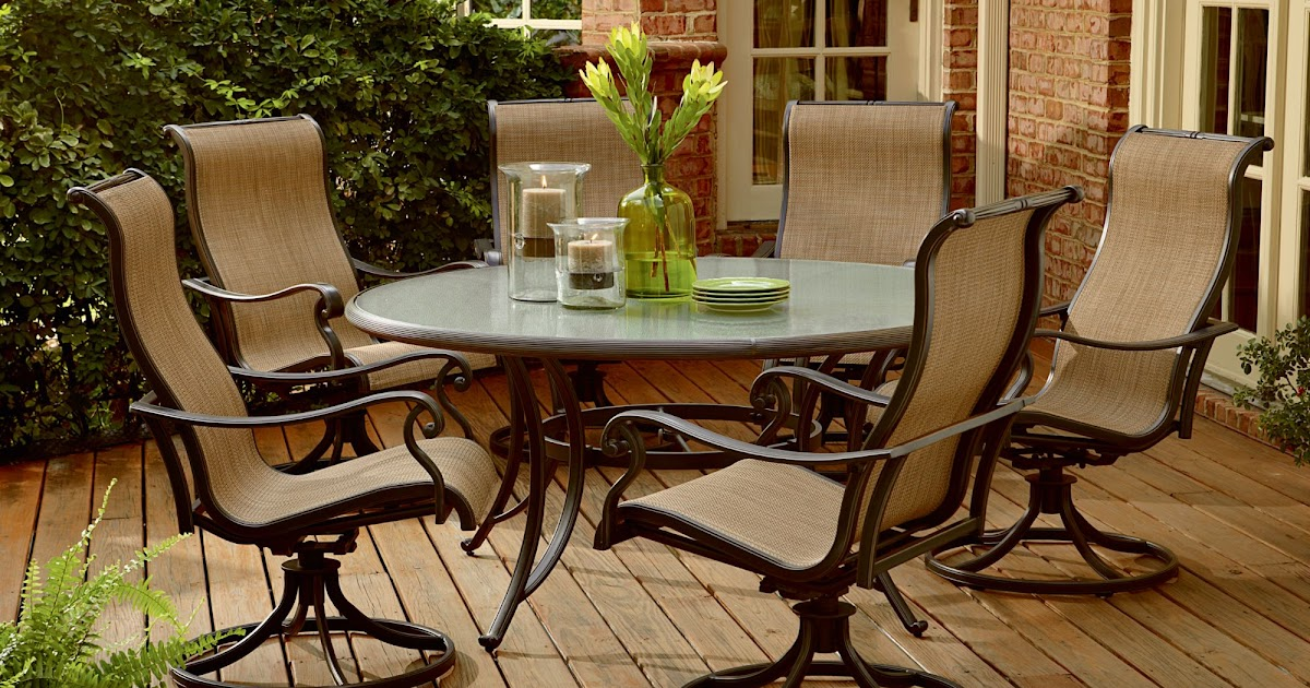 agio panorama 7 pc round glass dining set dining sets for patio