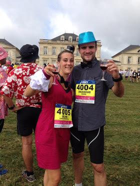 Céline et son mari au marathon du Médoc