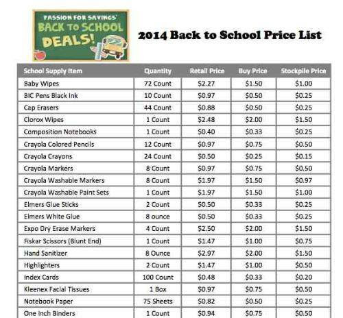 Back to School Price List 2014