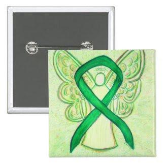Green Angel Awareness Ribbon Custom Art Pins