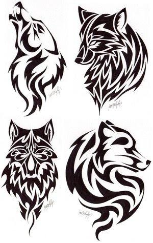 Tribal Wolf Head Tattoos Design