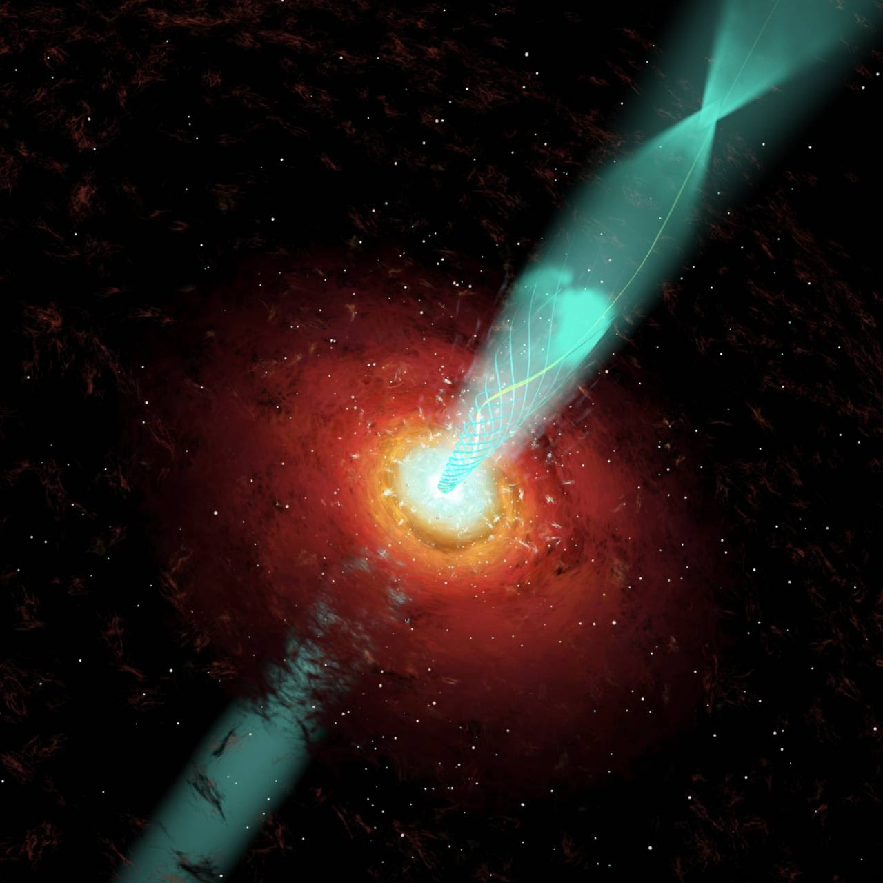 Illustration of a shock wave (bright blob in the upper jet) after a spiral path (yellow) as it moves away from the black hole and through a section of the jet where the magnetic field (light blue curved lines) is wound up in a coil. Image: Cosmovision/Instituto de Astronomia