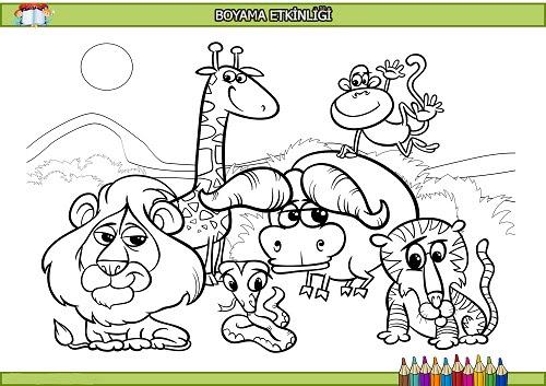 Iri Kafalı Hayvanlar Boyama Etkinliği Meb Ders