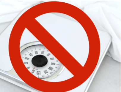 scale with big red x symbolizing to not base your self esteem on your weight loss