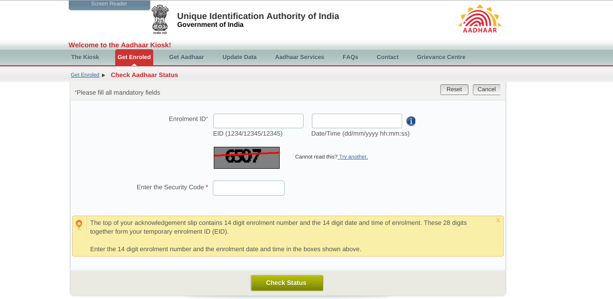Steps to Check Aadhar Card Status Online