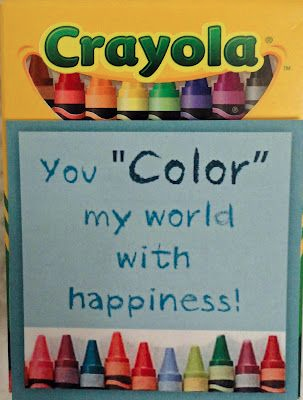 """valentine with Crayola crayon box that says, """"You 'Color' my world with happiness!"""""""