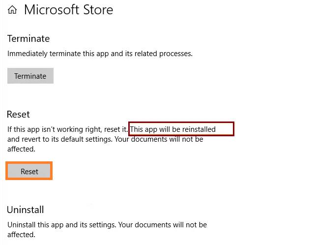 reinstall Microsoft store using Setting App
