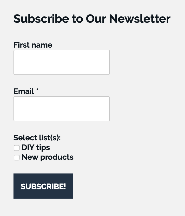 Subscription form with options.