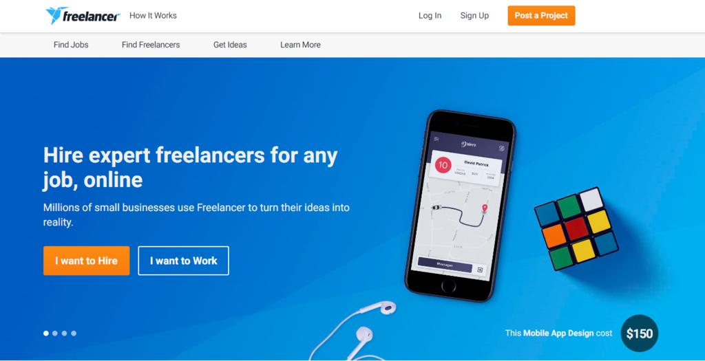 página inicial do Freelancer, site de freelancer para trabalhar em casa