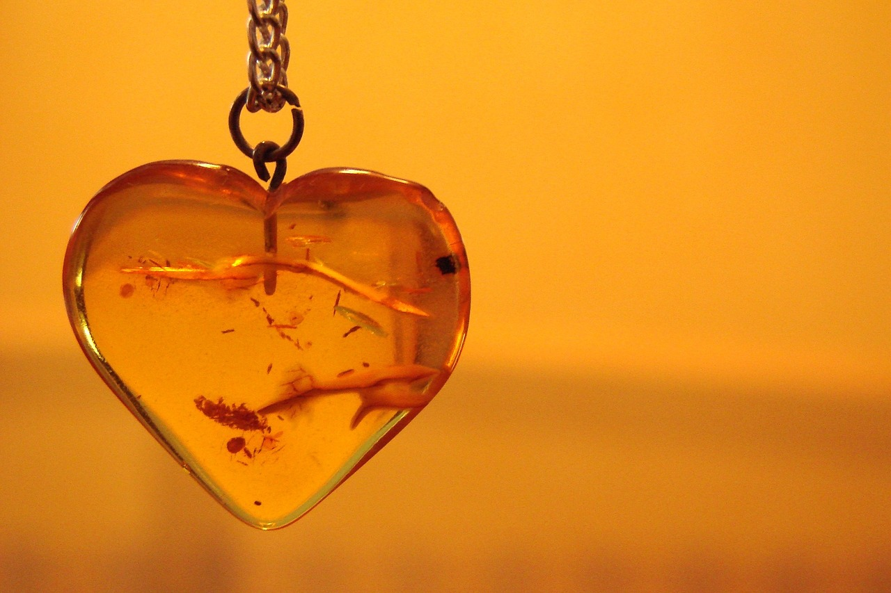 Amber Essential Oil: amber heart jewelry