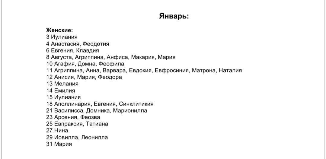Список женских имен по святцам - январь месяц