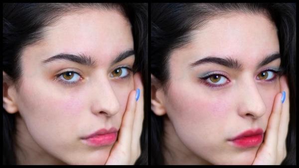 antes e depois da foto de uma mulher branca sendo que uma foi editada com a maquiagem Candy do AirBrush
