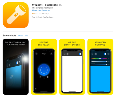 Mobile app type - Utility - MyLight